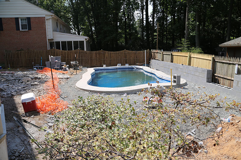 Maryland Back Yard Pool Landscaping Project
